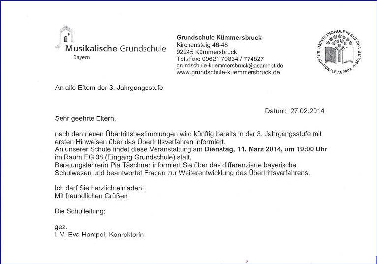 elternbrief - einladung infoabend 3. klassen, Einladung